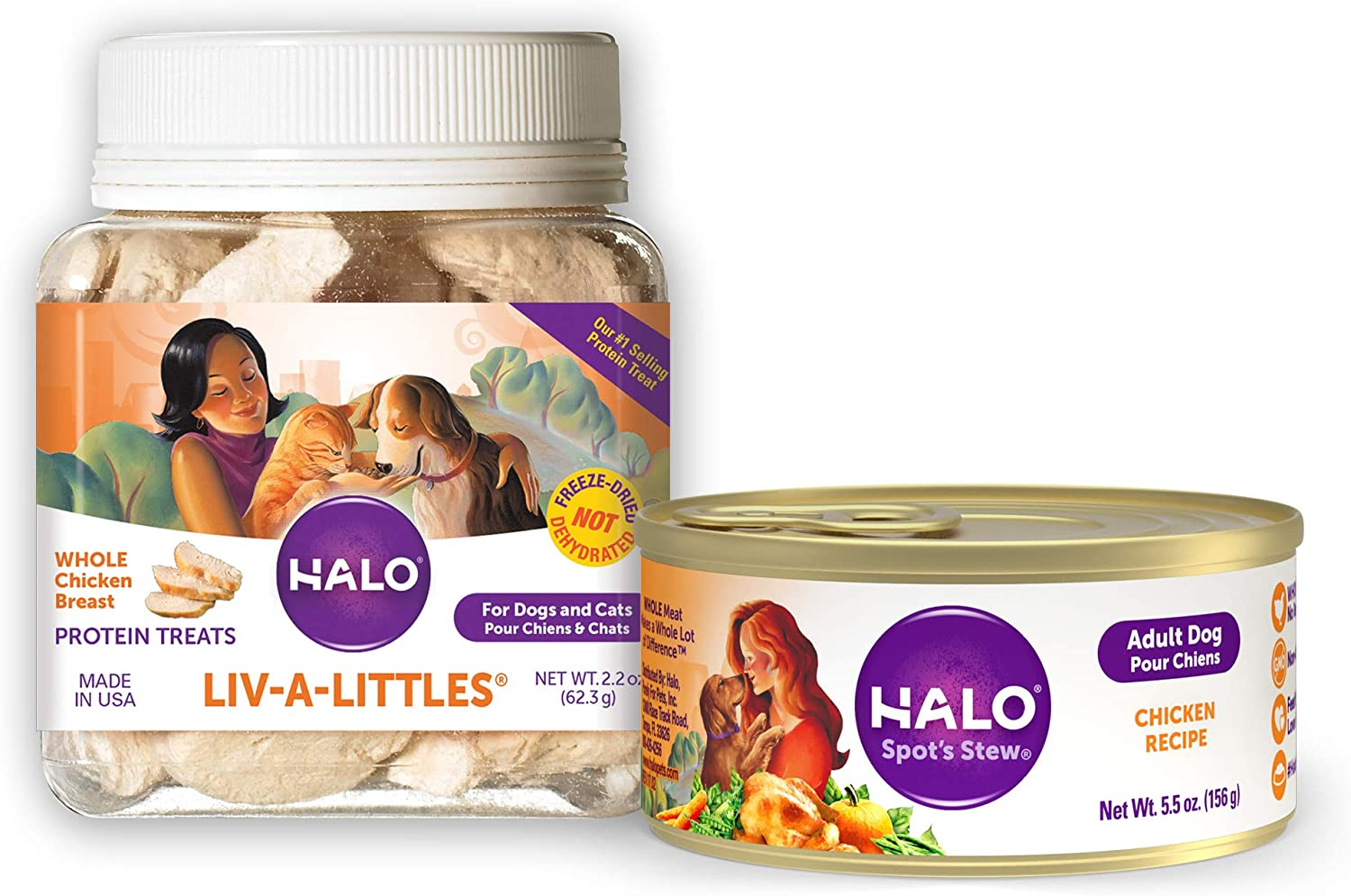 Halo Liv-A-Littles Natural Dog Treats, Freeze Dried Chicken Breast, 2.2-Ounce plus Halo Natrual Wet Dog Food, Chicken Recipe, 5.5-Ounce Can (Pack of 12)