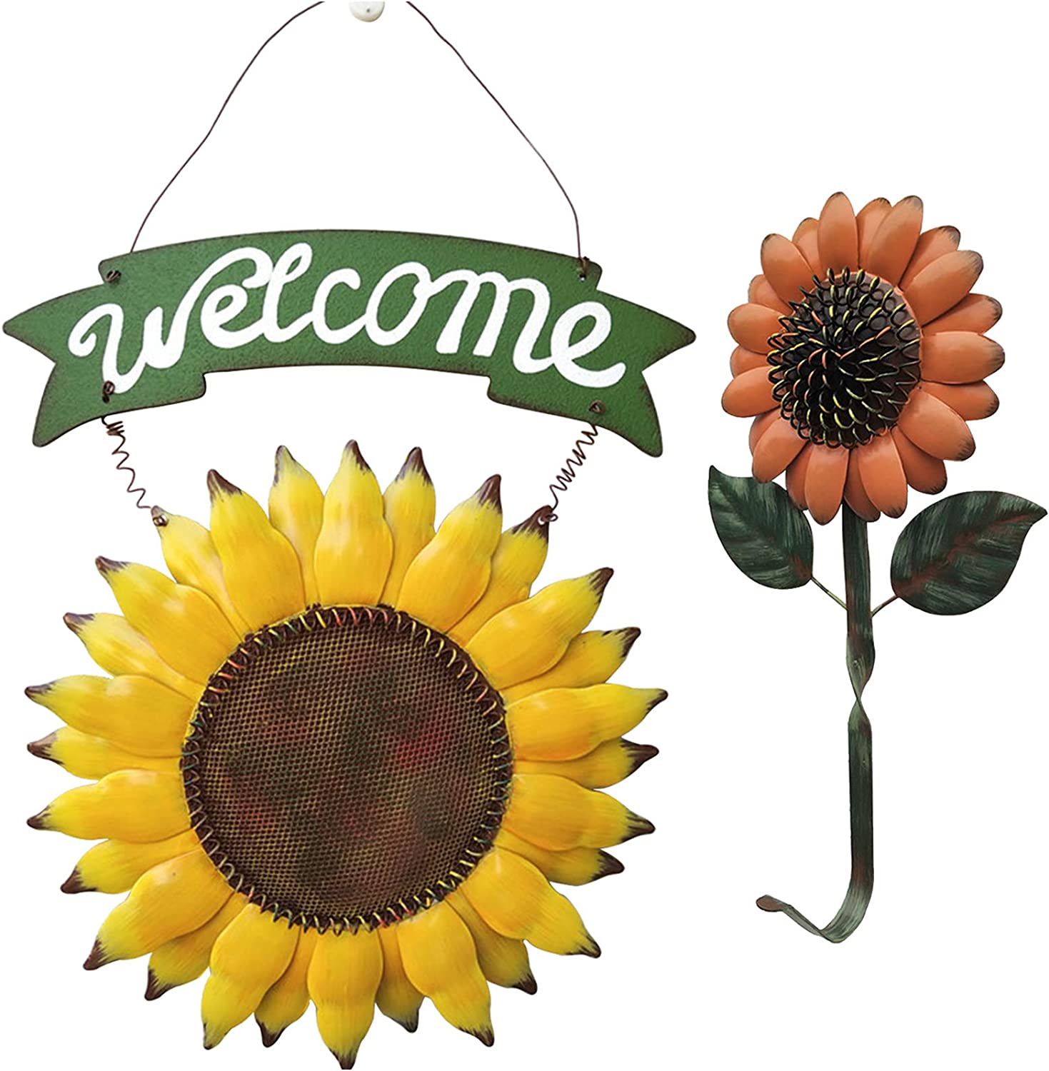 TISOSO Farmhouse Sunflower Welcome Sign with One Sunflower Hook Hanging Sign Metal Yard Art Country Home Wall for Outdoor Garden Patio Porch Lawn Front Door Decorative (Set of 2)
