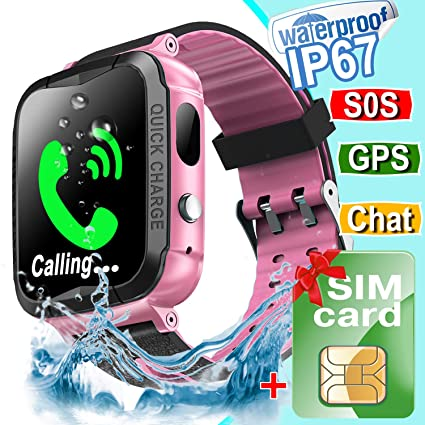 Waterproof Kids Smart Watch Phone[FREE SIM],GPS Tracker Smartwatch with Camera Alarm S0S Two-way Texting Calling,Touch Screen Kid Cellular Watch Back ...