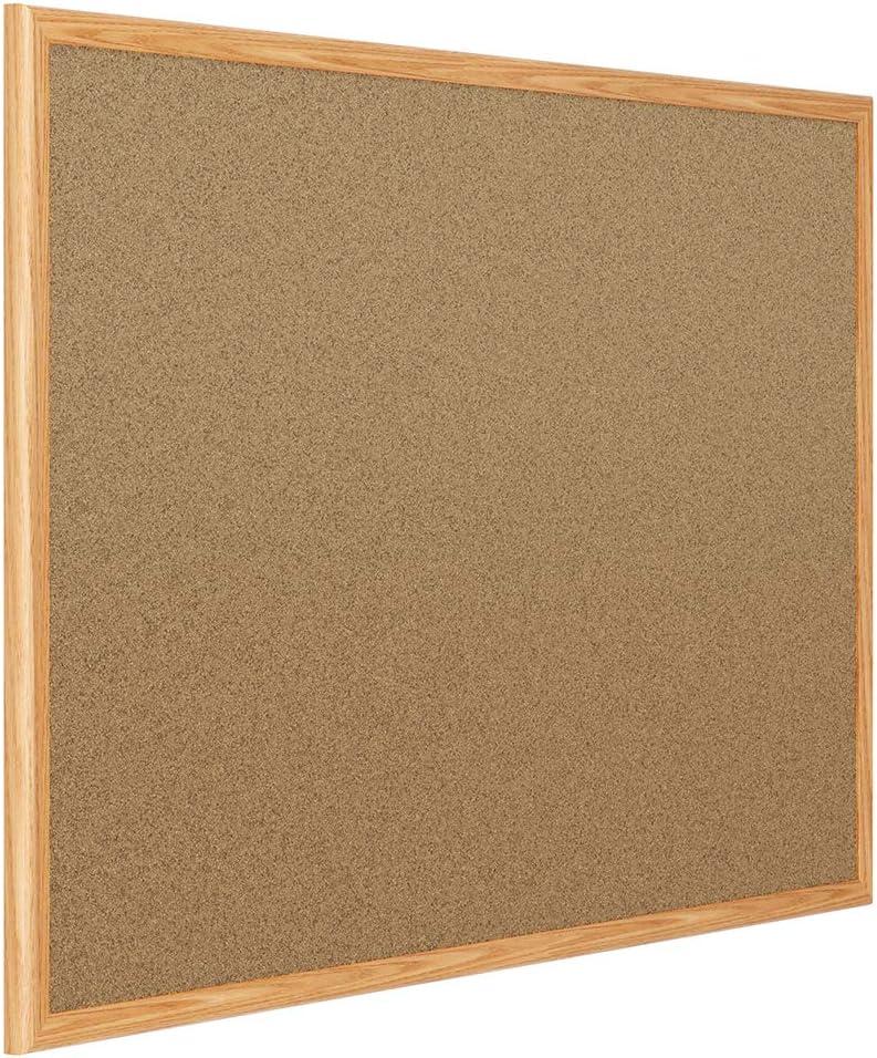 "Mead Classic Cork Bulletin Board, 24"" x 18"", Corkboard, Oak Finish Frame (85365)"