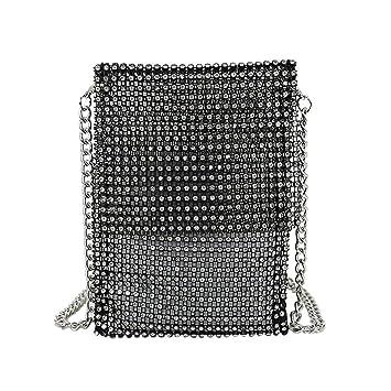 New Women/'s Evening Bag Full Rhinestones Mini Bucket Bag Shining Crossbody Bag