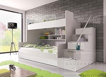 Etagenbett Hochbett Doppelstockbett : Etagenbett weiß hochglanz rechts bett jugendbett doppelstockbett