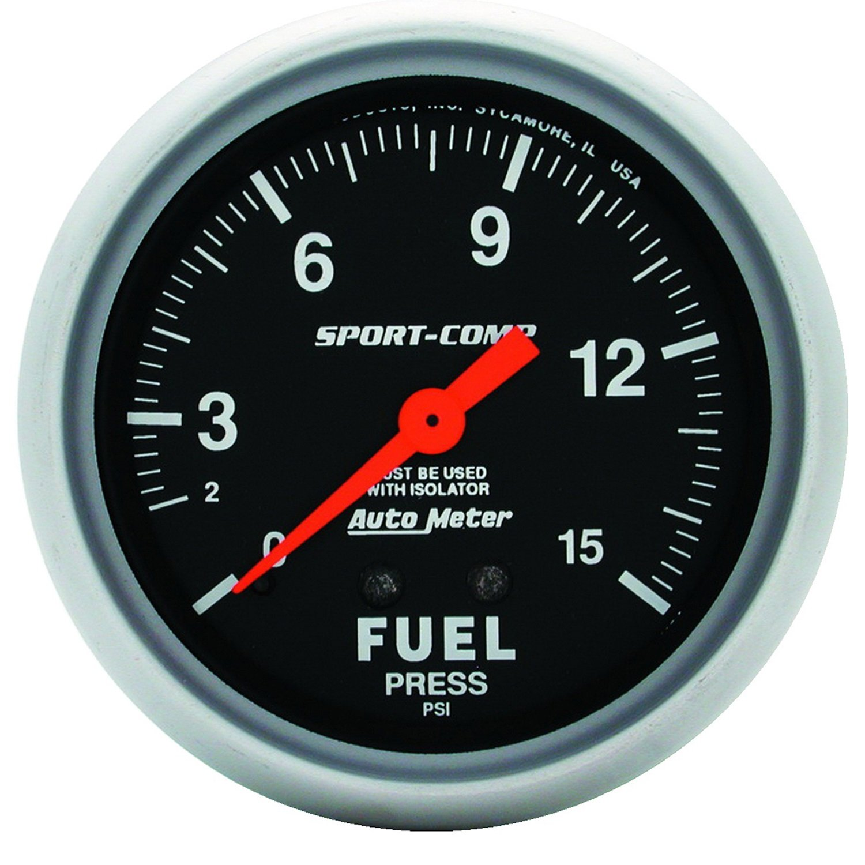 Auto Meter 3413 2-5/8' 0-15 PSI Mechanical Fuel Pressure Gauge with Isolator