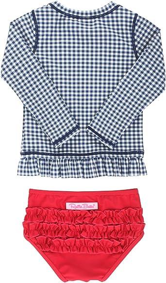 Sun Baby//Toddler Girls Long Sleeve Rash Guard 2-Piece Swimsuit Set Flower Dress with Cap UPF 50
