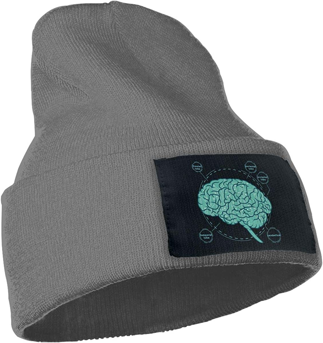 JimHappy World Brain Tumor Winter Warm Hats,Knit Slouchy Thick Skull Cap Black