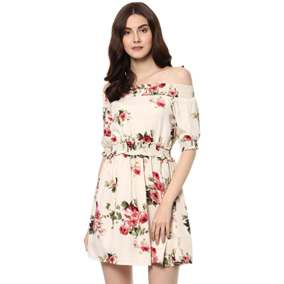 9aff26e4ada0 D amor White Smoky Off Shoulder Dress for Women s  Amazon.in  Clothing    Accessories