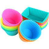 IPOW 24 Pack Silicone Cupcake Baking Cups Reusable Food-Grade BPA Free Non-Stick Muffin Liners Molds Sets, 2 Shapes Round Rectangle