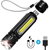 BIBTIM [USB Rechargeable] Tactical Flashlight Built-in Side Light and Magnet (18650 Battery Included), Brightest 1200 Lumens Cree L2 LED (Best), Zoomable, IP65 Water Resistant, Mini, Indoor/Outdoor