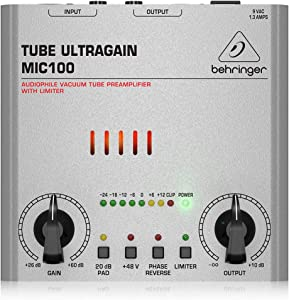 Behringer Tube Ultragain MIC100 Audiophile Vacuum Tube Preamplifier with Limiter,Silver