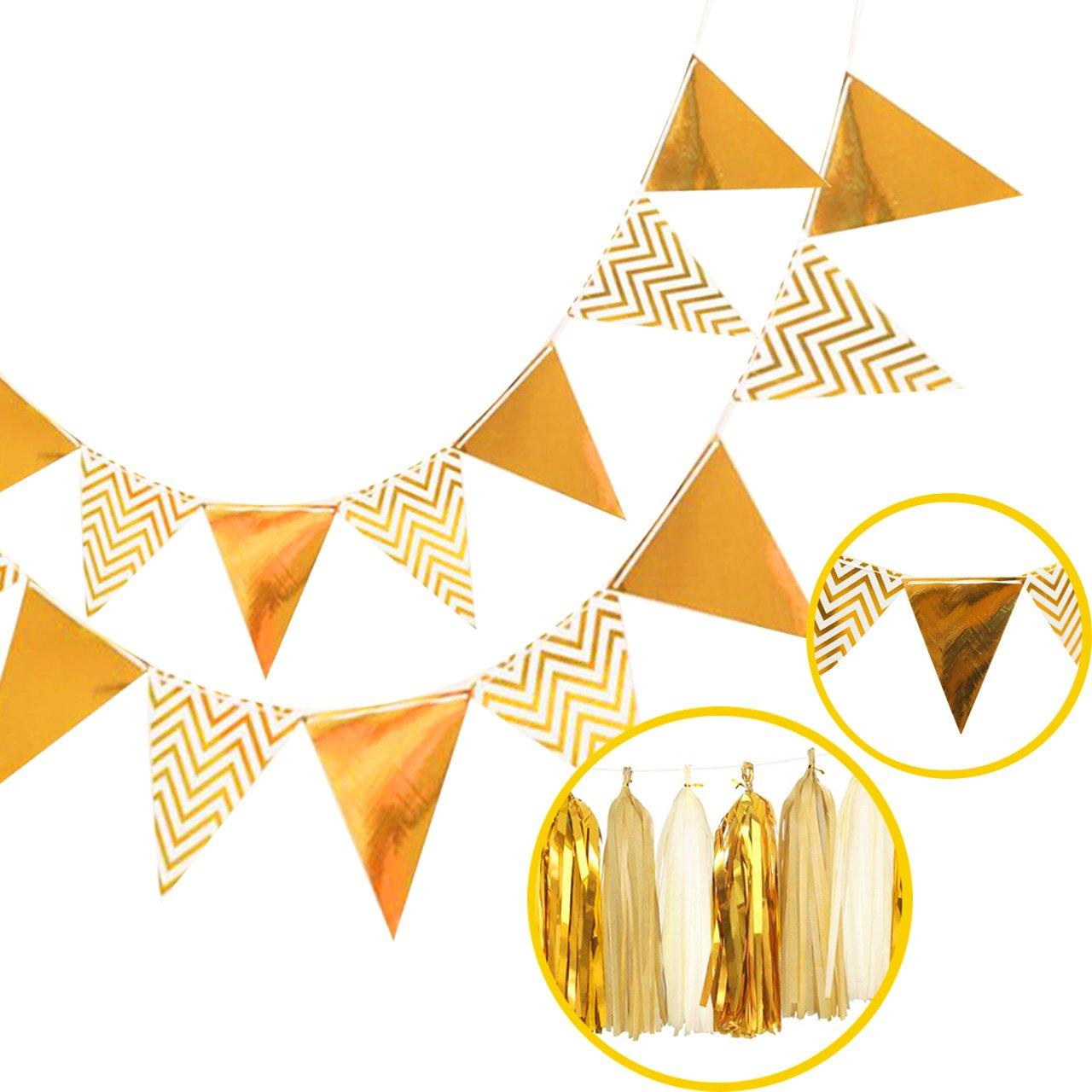 Tassel Banner Set, Misscrafts Pennant Banner Glitter Tassel Garland Banner Gold Tissue Paper Tassel Garland Sparkly Paper