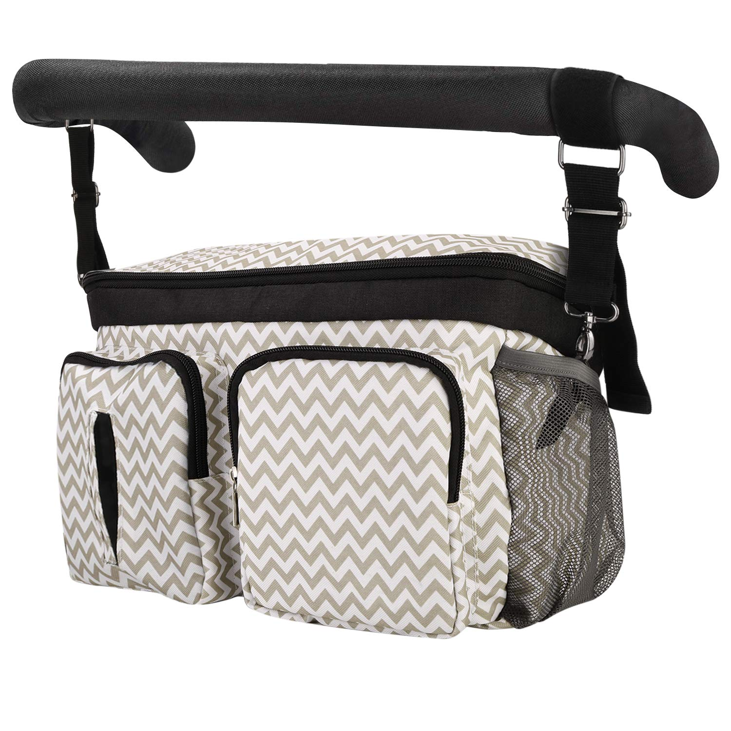Ripple Baby Stroller Organizer Bag,Wet Dry Separated Stroller Caddy Organizer,Large Capacity Waterproof Stroller Storage Bag,Non-Slip and Adjustable Straps,Multi-Function Baby Products Organizer