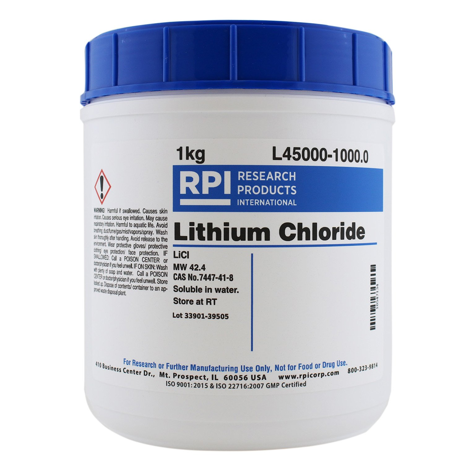 RPI High-Purity Lithium Chloride Powder, 1 Kilogram, for Research and Manufacturing