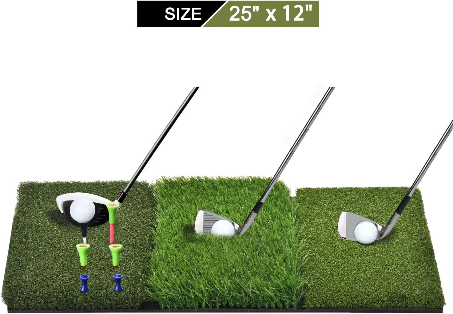 SUNHOO Golf Hitting Mat, Turf Grass 3-in-1 Collapsible Chipping Mat with Tees, Launch Pad for Backyard, Practice Putting Green Training Aids, Indoor | Outdoor