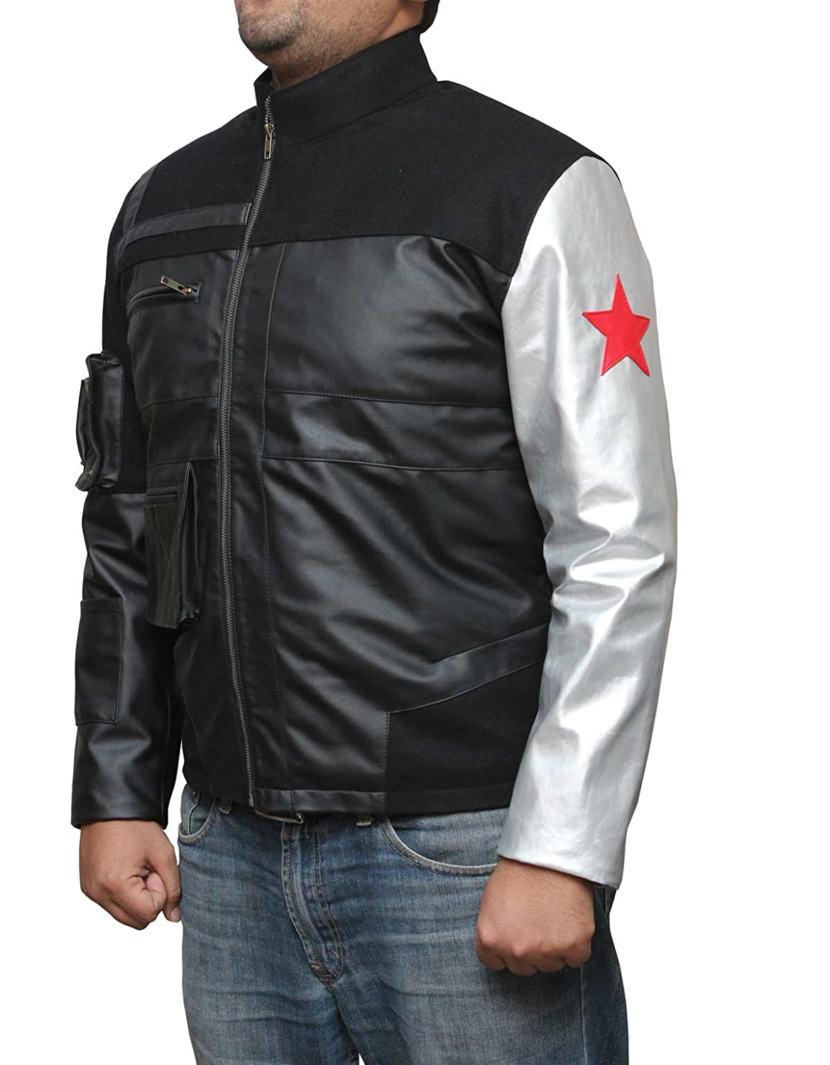 Captain America: Civil War Adult Bucky Barnes Red Star Silver Sleeve Faux Leather Jacket - DeluxeAdultCostumes.com