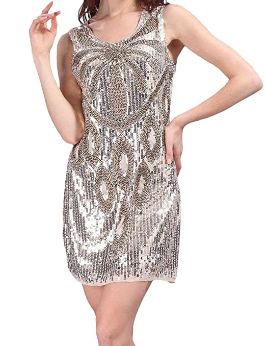 Amazon.com: Hblld Womens Waistcoat Sequined Cocktail Party Prom Dress Ball Gowns Beige: Clothing
