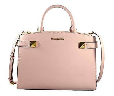 53106a17da02 Amazon.com  Michael Kors Karla MD Leather Satchel Bag Blossom (35T8GKGS2L)   Shoes