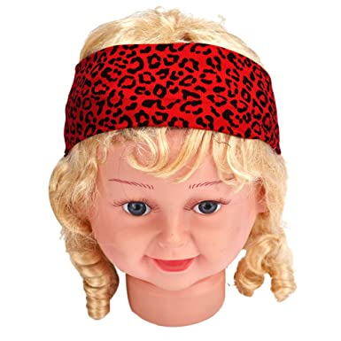 Sports Headband Elastic Leopard Turban Moisture Wicking Stretch Hairband (Red)