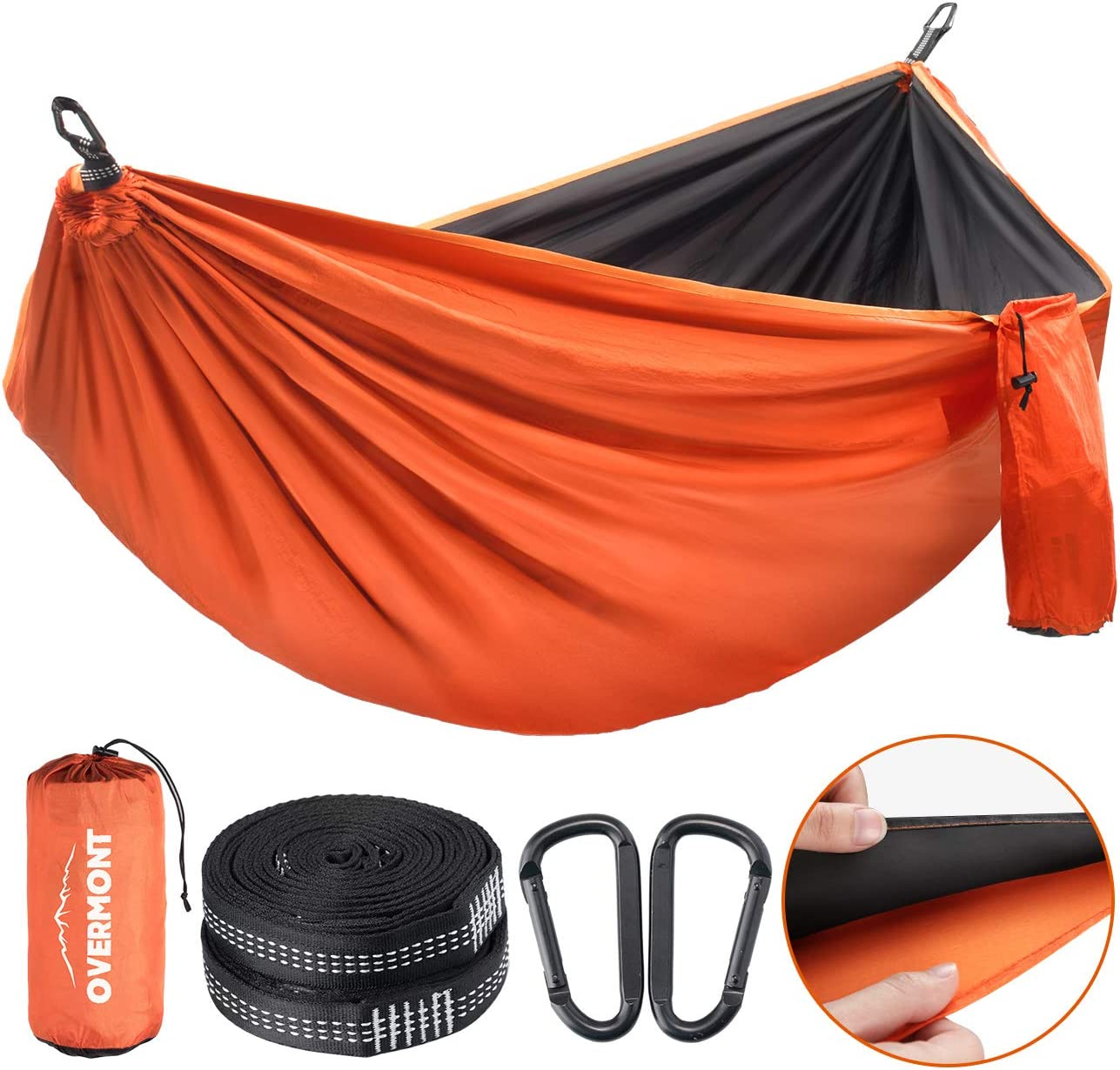 Overmont Double Layers Outdoor Hammock for Two German TUV Certificated Portable Camping Hammock Lightweight for Backpacking Hiking Sports Travel with Tree Straps Max Load of 880lbs