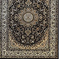 Homemusthaves-Black Persian Kashan Design Rug Carpet New Thick (5X7)