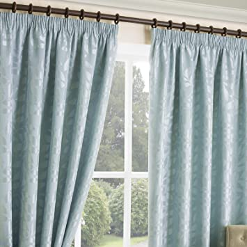 Hls Curtains Luxe Chelford Jacquard Motif à Feuilles Lignées Ruban