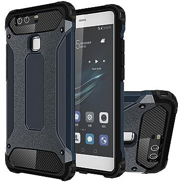 HICASER Huawei P9 Plus Funda, Híbrida Case [Heavy Duty] Rugged Armor Cover, Dual Layer Shock Resistant Carcasa para Huawei P9 Plus Dark Azul