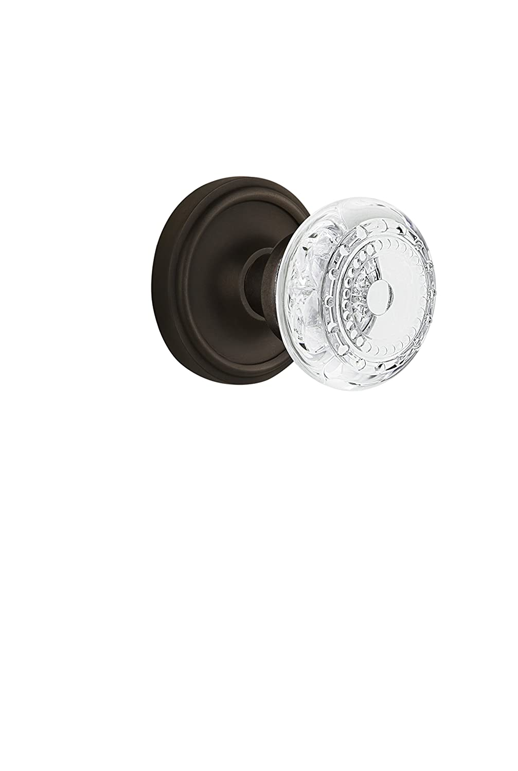 Nostalgic Warehouse 752199 Classic Rosette with Crystal Meadows Knob Privacy Backset Size 2.375 Oil-Rubbed Bronze