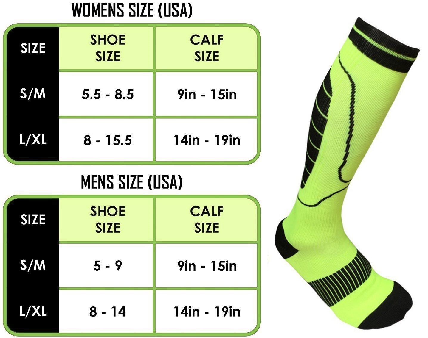 Compression Socks Men and Women, Qhui Graduated Athletic Sport Socks for Running, Medical, Nursing, Athletic, Crossfit, Flight Travel (Fluorescent green-M)
