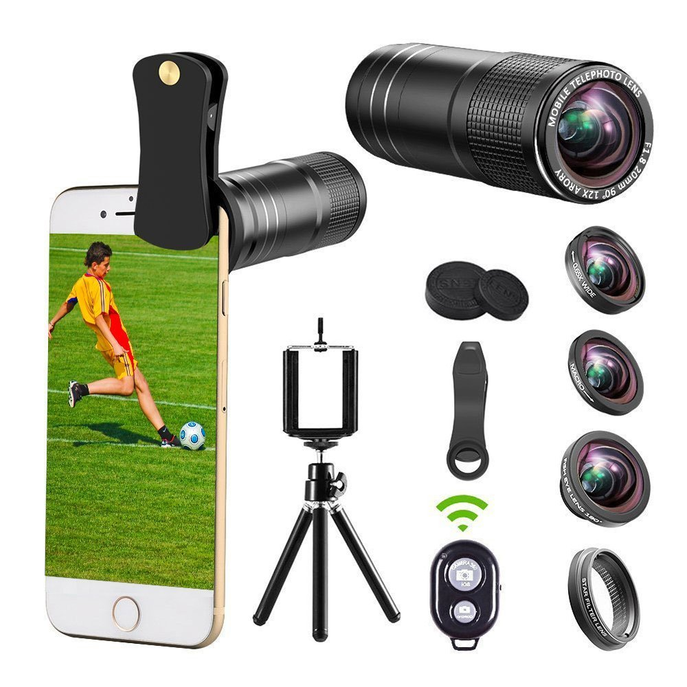 iphone Camera Lens, 12x Telephoto Lens kit + 0.65x Wide Angle & Macro Lenses + 180° Fisheye Lens + Star Filter Lens, Clip-On lenses for iphone X 8 7 6s 6 plus, Samsung Android Smartphones & Tablet