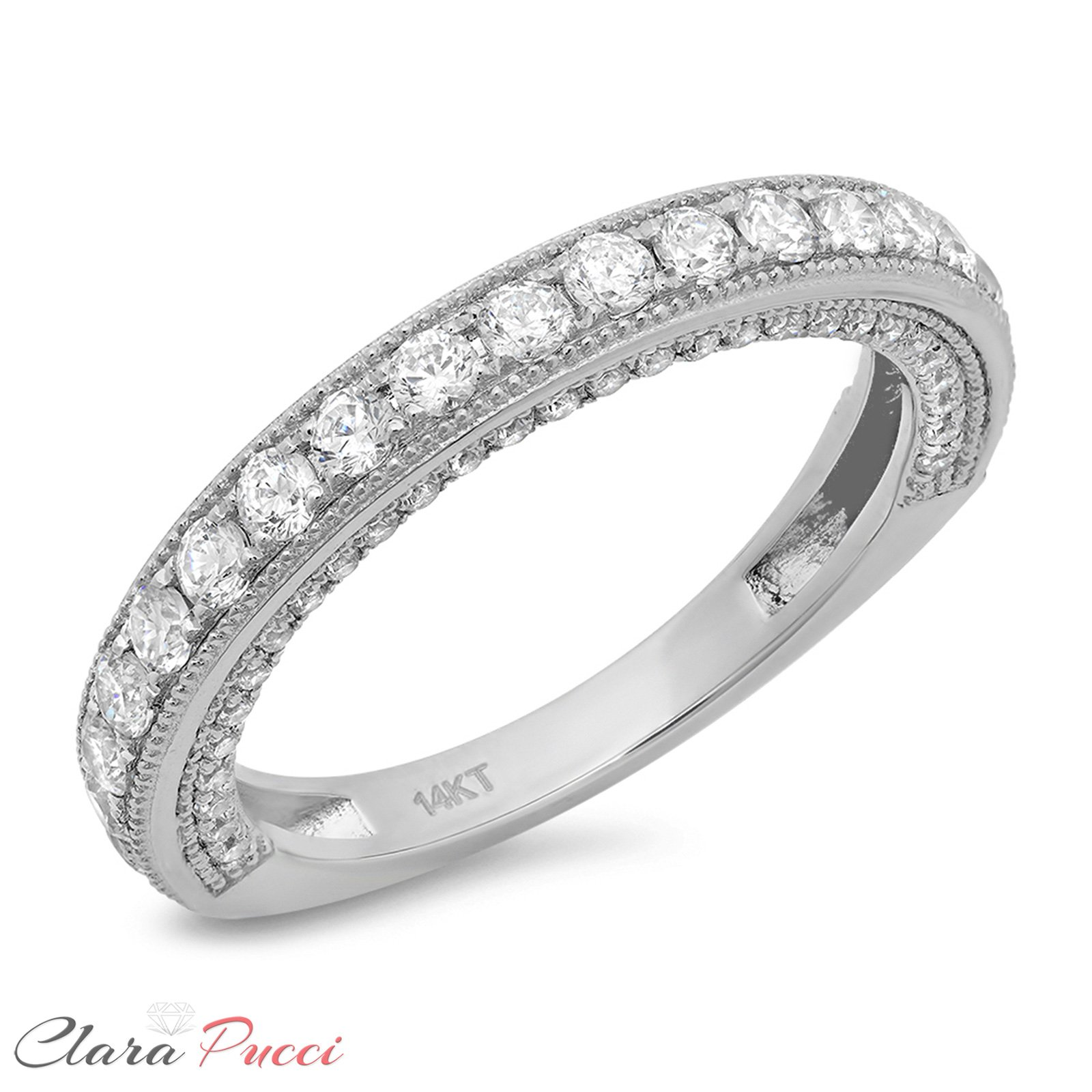 1.10 CT Round Cut CZ Pave Set Wedding Bridal Eternity Engagement Band Ring 14k White Gold, Size 8 by Clara Pucci (Image #5)
