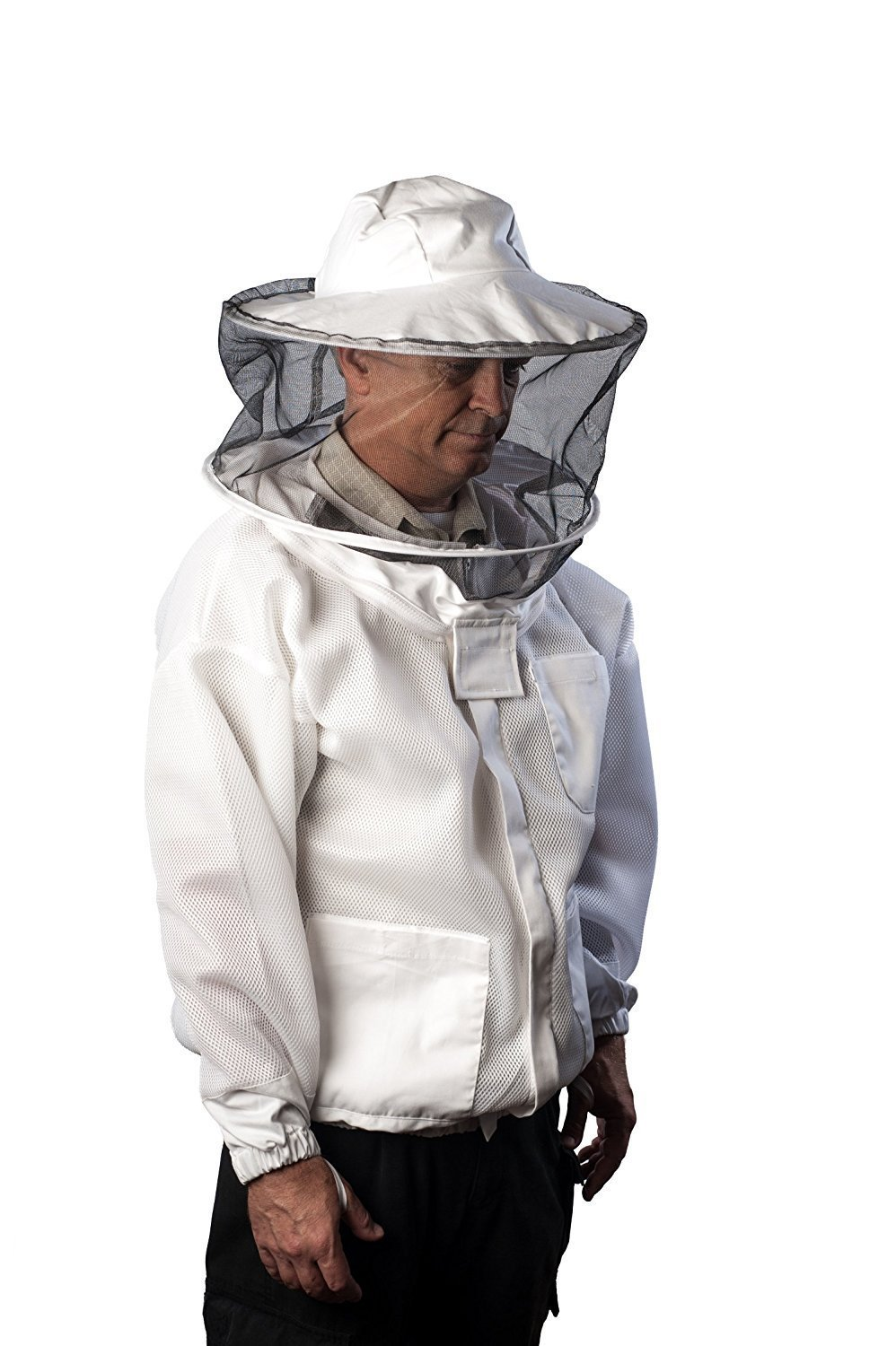 Pro-Breeze Ventilated Beekeeping Jacket For Men/Women By Forest Beekeeping Supply   Round Vented Apiary Jacket W/Veil Hood For Beginner/Commercial Beekeepers   Brass Zippers and Thumb Straps (X-LARGE) by FOREST BEEKEEPING SUPPLY