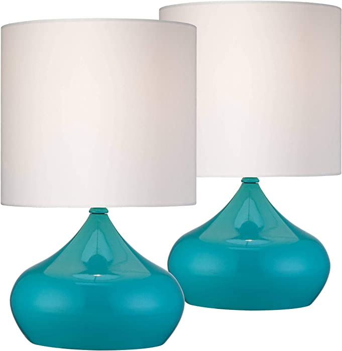"""Mid Century Modern Accent Table Lamps 14 3/4"""" High Set of 2 Teal Blue Steel White Drum Shade for Bedroom Bedside - 360 Lighting"""