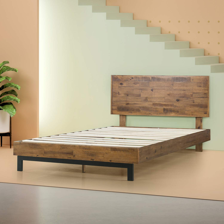 Zinus Tricia Platform Bed / Mattress Foundation / Box Spring Replacement / Brown, Queen by Zinus