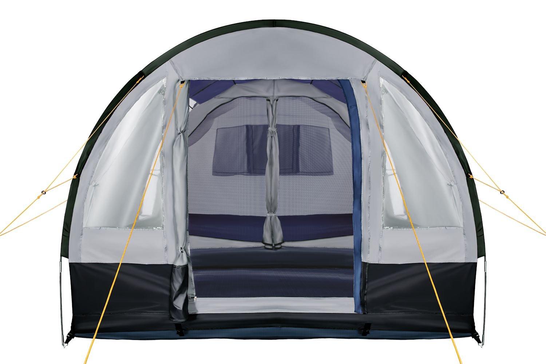 So Macht Camping Spa/ß! schwarz//blau // grau Gro/ßes Familienzelt mit 3 Eing/ängen und 2.000 mm Wassers/äule CampFeuer Campingzelt f/ür 4 Personen Tunnelzelt Gruppenzelt