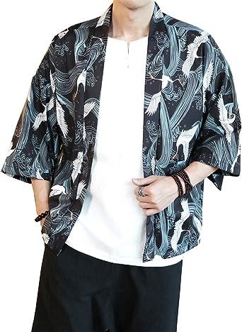 GUOCU Hombres Camisa Japonés Cardigan Yukata Estilo Kimono Impresos Vintage Holgado Casual Chaqueta: Amazon.es: Ropa y accesorios