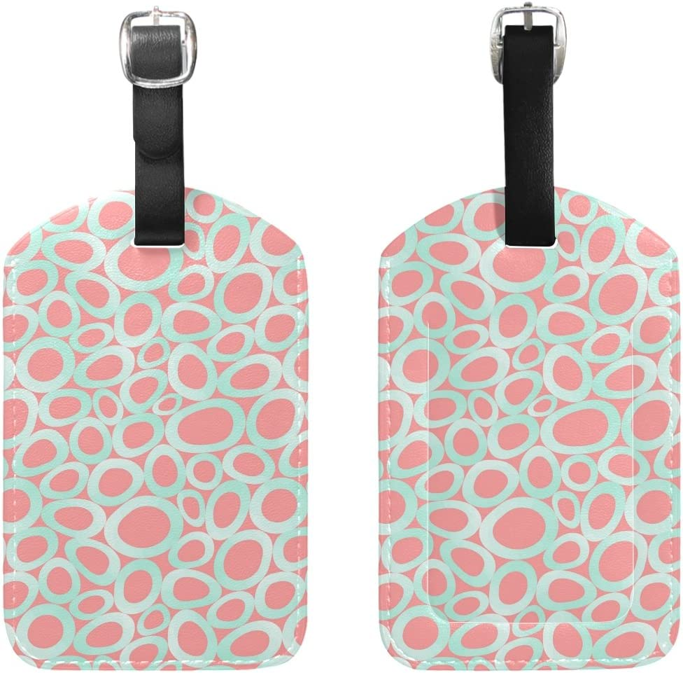 Ovals Pattern Travel Luggage Suitcase Label Tag PU Leather for Baggage 1 Piece