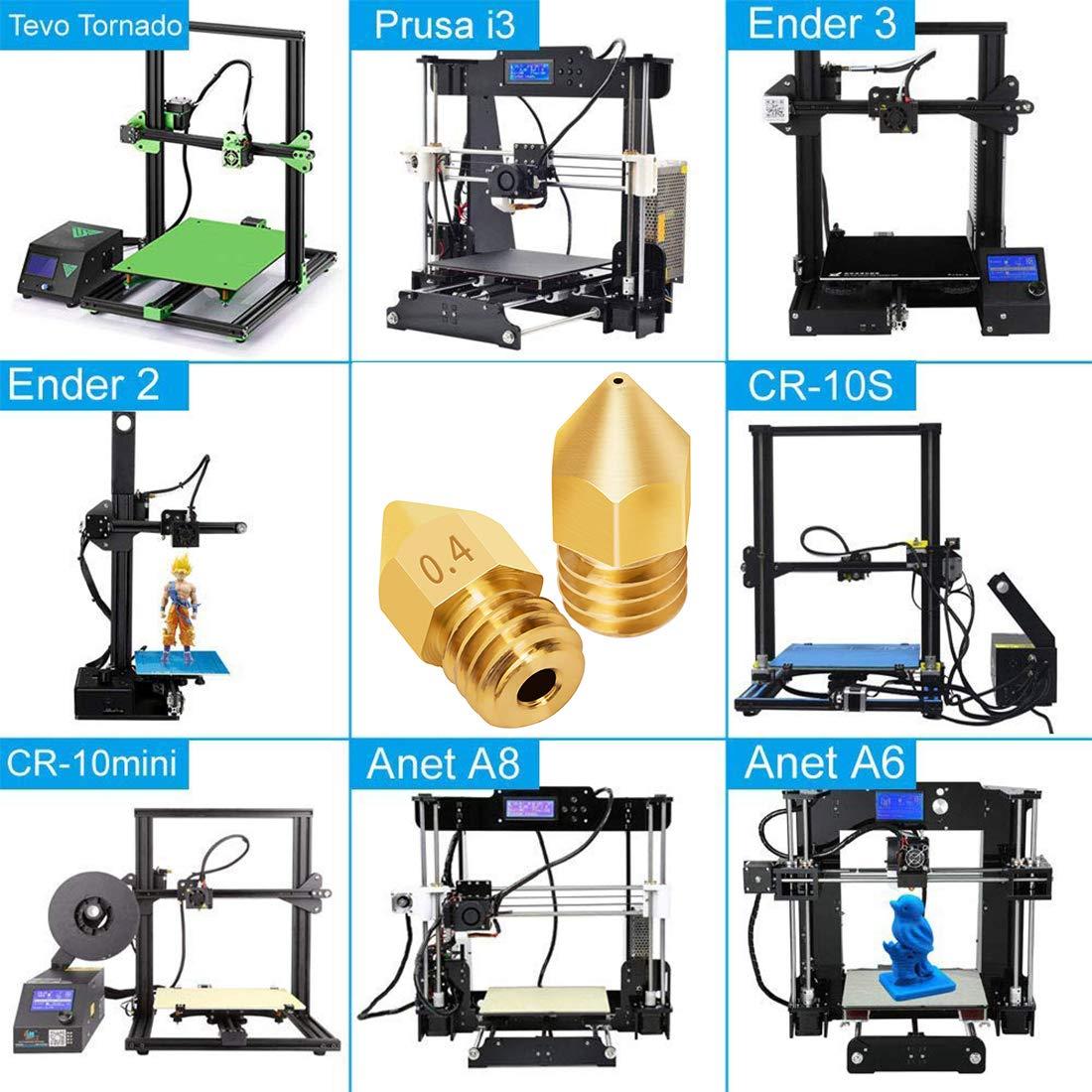 con 5 Piezas Agujas de Limpieza de Boquillas de Acero Inoxidable JESSTOLO 20 Piezas Extrusor de Impresora 3D Boquilla MK8 0.4 mm//0.5 mm//0.6 mm 3D Impresora Boquilla para Makerbot Creality CR-10