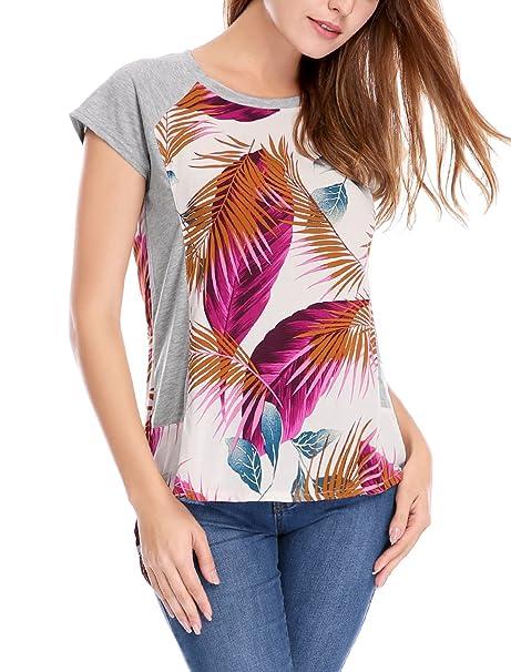 Allegra K Blusa Top para Mujer Diseño De Panel De Contraste ...