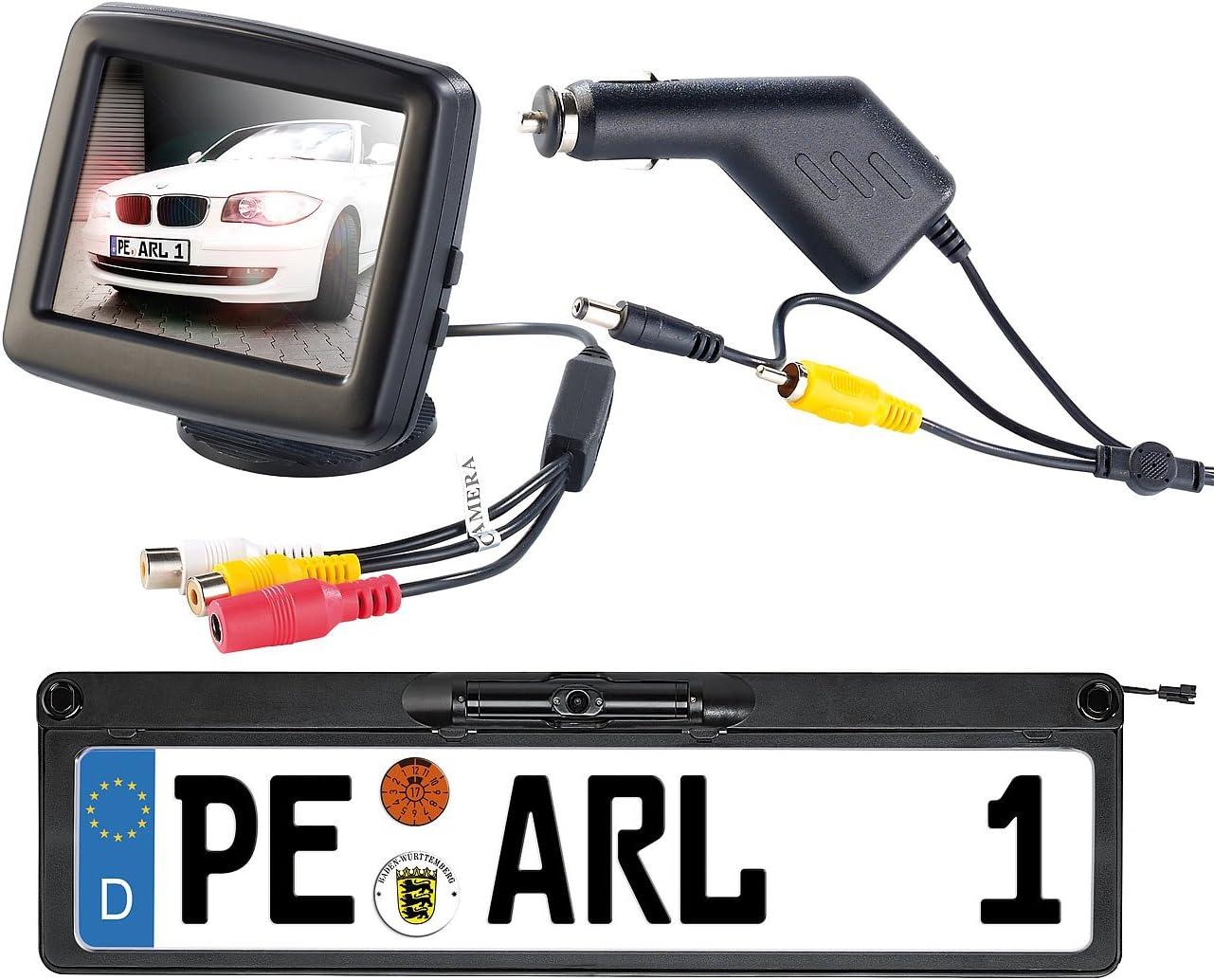 Lescars Funk Rückfahrkameras Funk Rückfahrkamera Pa 500n Lcd Farbmonitor 3 5 8 9cm Funk Rückfahrsystem Auto