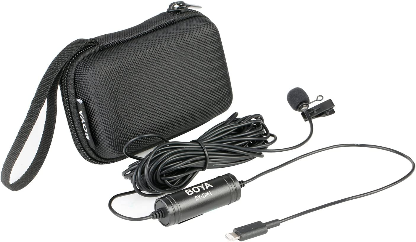 Interview Vlog Rede Podcast 6m BOYA DM1 Lavalier-Mikrofon mit Ansteckmikrofon und Blitzanschluss Kompatibel mit iOS iPhone11 X 8 7 6 Plus iPad iPod Nano Touch f/ür YouTube Konferenz