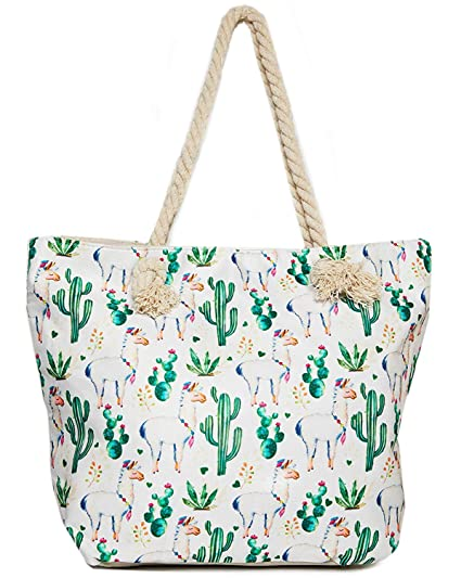 vivid and great in style best deals on elegant appearance Llama Beach Shoulder Tote Bag - Llama With Cactus Weekender Travel Bag -  Comes with Quick Reach Zipper Pouch