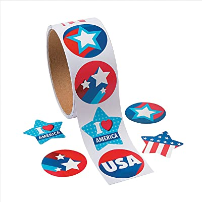 Fun Express - Patriotic Roll Sticker for Fourth of July - Stationery - Stickers - Stickers - Roll - Fourth of July - 1 Piece: Toys & Games