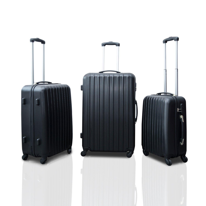 HomCom Spinner Luggage Sets Trolley Travel Suitcase 28-Inch, 24-Inch, 20-Inch, 3-Piece, Black Aosom Canada 98-0015