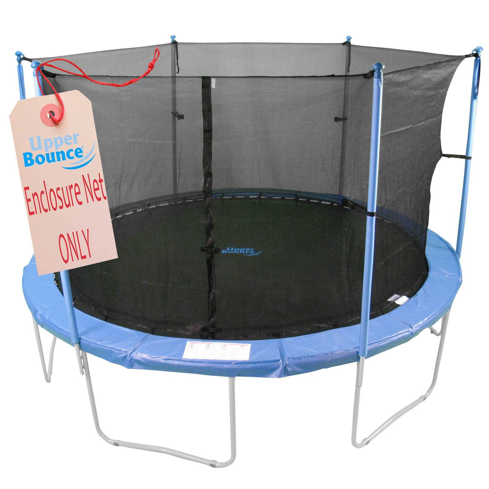 Upper Bounce Trampoline Replacement Enclosure Net, Fits for 8 FT. Round Frames, with Adjustable Straps, Using 4 Poles or 2 Arches - Net Only by Upper Bounce