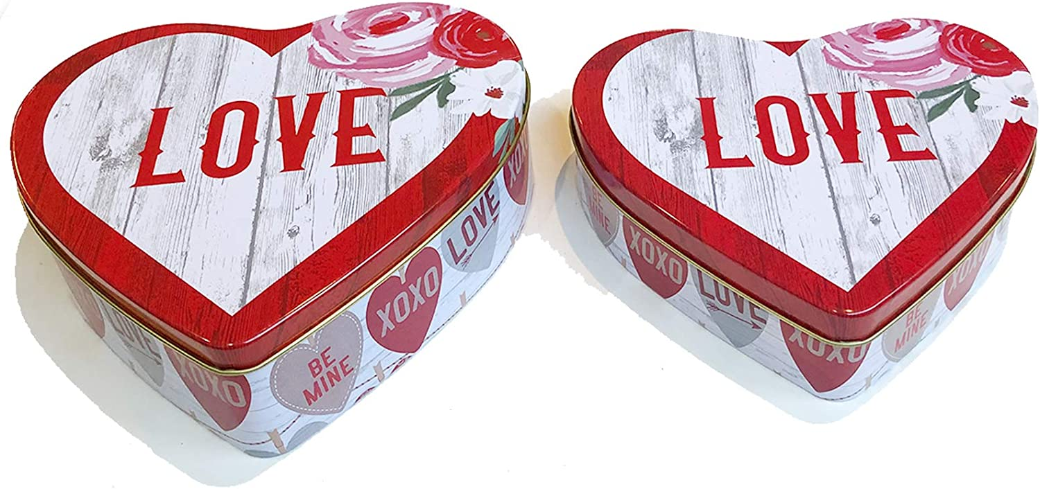 Valentines Day Cookie Tins with Lids for Gift Giving Empty Red Heart Shaped Containers for Candy Snack Storage Pastry Treat Swap Metal Boxes for Goodies, Chocolate, Nuts, Romantic Love Tin for Her