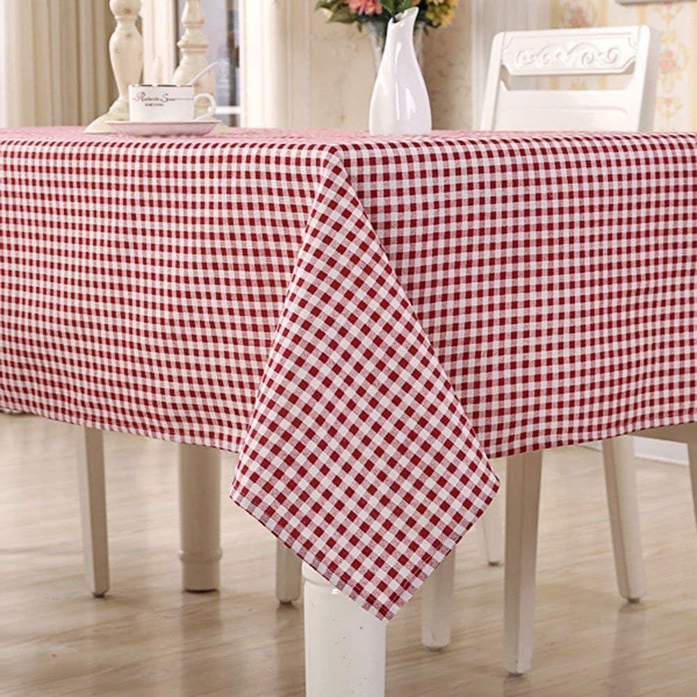 HomeT - Mantel de algodón y lino, estampado geométrico, a cuadros, rojo y blanco, color granate, para mesa de forma rectangular, Lino algodón, Rojo, 100x140cm