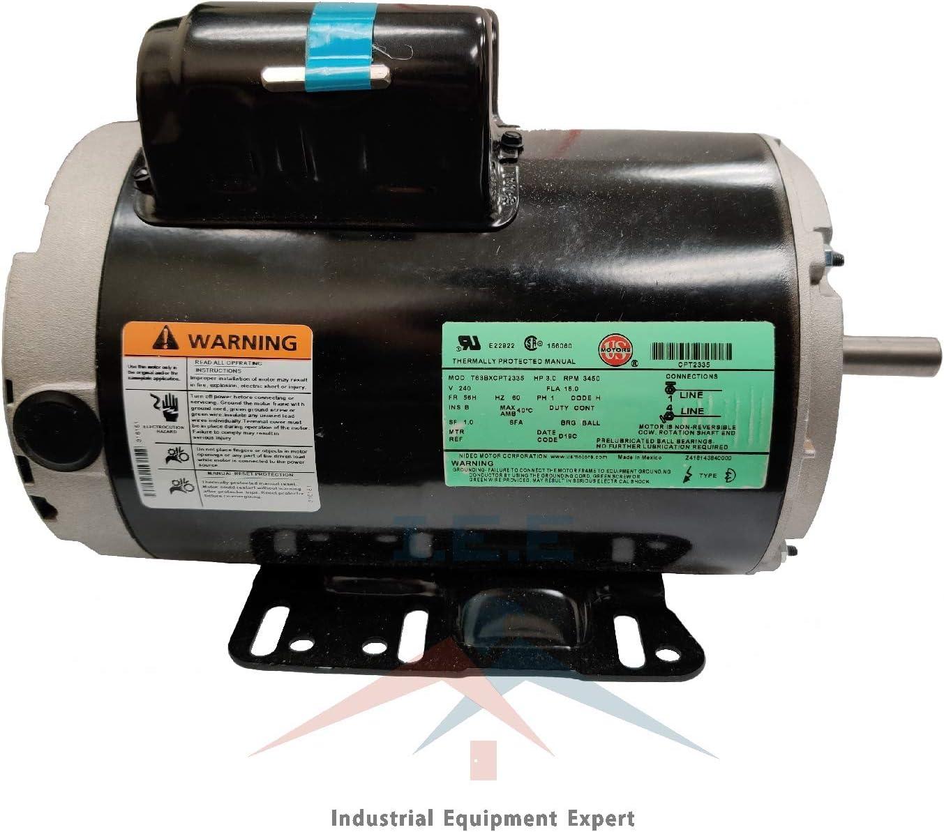 3 HP 3450 RPM Electric Motor COMPRESSOR DUTY 56 Frame 1 Phase 5//8 Shaft