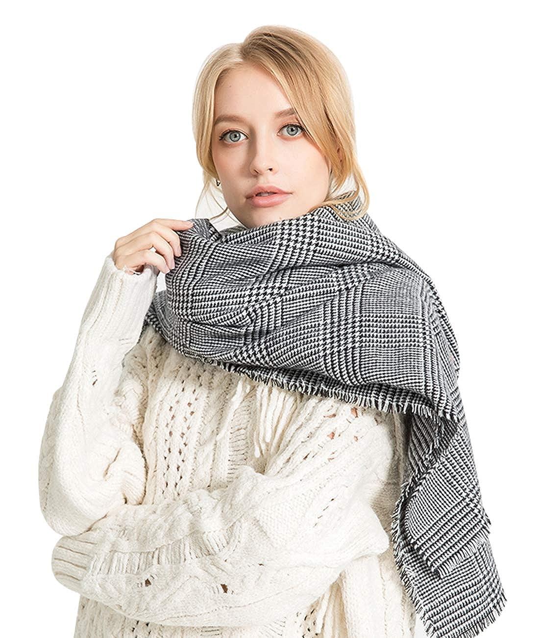 80cm Alleza Sciarpa Invernale Donna Cachemire Calda Stole Scialle Motivo a Lattice Exlarge 200