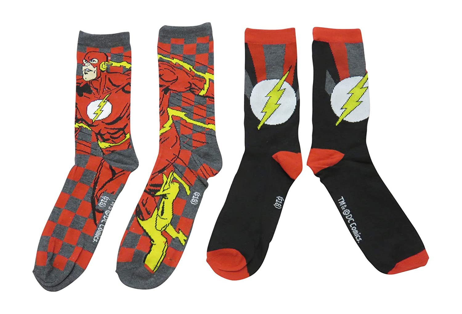 The Flash In Motion Crew Socks 2 Pair Pack New Licensed Superhero DC Comics