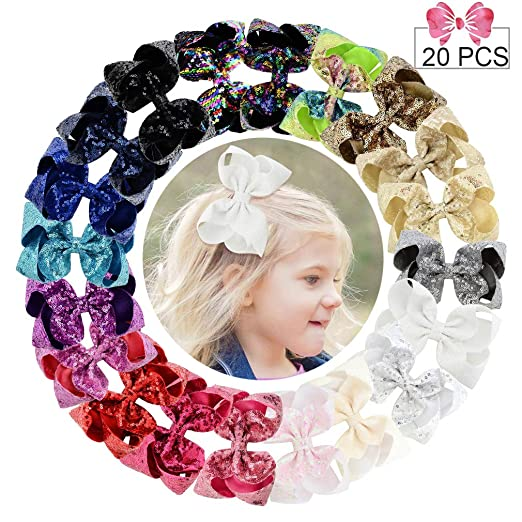 "6"" Large Sequins Hair Bows 20PCS Glitter Sparkly Boutique Alligator Clips for Girls Toddlers Teens Women"