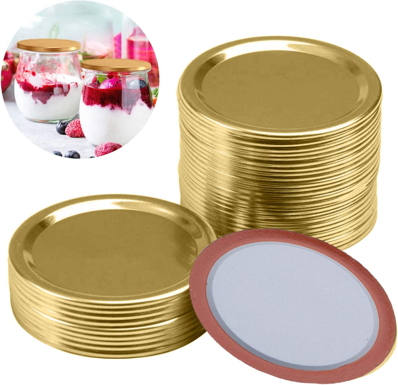 Gold, 96 70 mm Canning Lids Jar Lids Split-Type Lids Reusable Leak Proof Storage Solid Caps Metal Canning Jar Lids Compatible with Mason Jar for Pickling Canning Jar Lid Storage
